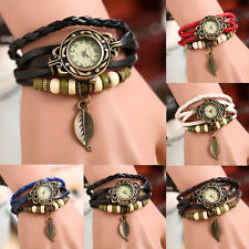 VINTAGE Weave Wrap Around Leather Bracelet Quartz Wrist Watch Fashion Girl Women
