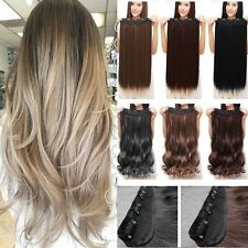 Mega Thick One Piece Half Head Clip in Hair Extensions Long Curly Straight H4n