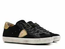 Philippe Model women's black suede low top lace up sneakers