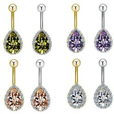 1pc Belly Navel Ring Stainless Steel & Tear Drop Shaped CZ Gems Gauge 14g(1.6mm)