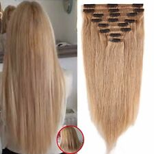 100% REMY HUMAN HAIR EXTENSIONS CLIP IN FULL HEAD HAIR EXTENSION DARK BLONDE YO2
