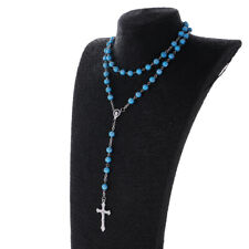 Womens Acrylic Rosary 8mm Beads Chain Necklace with Cross Pendant Party Jewerly