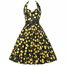 50s 60s Floral Ladies Swing Halter Dress Backless Rockabilly Party Pin up Dress
