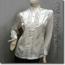 Victorian Style Ruffled Satin Elegant Blouse Shirt Top Cream S/L/XL