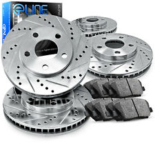 Front and Rear eLine Drilled Slotted Brake Rotors & Ceramic Brake Pad Fusion,MKZ