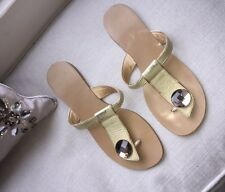 MODA IN  PELLE FLAT GOLD LEATHER SANDALS SIZE 5