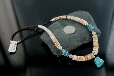 $330Tag Navajo .925 Sterling Silver Graduated Turquoise Native American Necklace