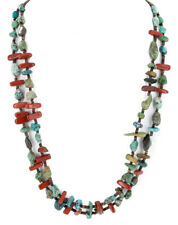 $300Tag 2 Strand Silver Navajo Natural Turquoise Red Native American Necklace