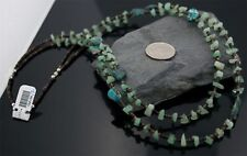 Large 2 Strand Silver Navajo Natural Turquoise Jade Native American Necklace