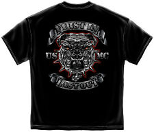 Marine Corps, USMC T-Shirt Usmc First In Last Out Silver Foil Bull Dog Black