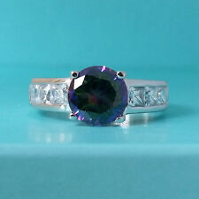 925 Solid Sterling Silver Rainbow Mystic Topaz CZ Wedding Promise Ring Jewelry