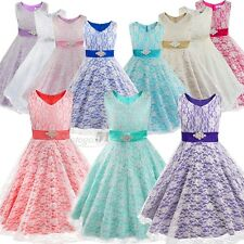 Girls Lace Tulle Communion Pageant Bridesmaid Formal Wedding Dress Ball Gown