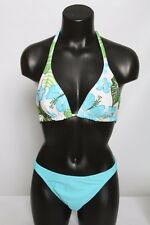 CIA MARITIMA Blue Aqua Floral Cheeky Beaded String Bikini Swimsuit S M L XL NWT