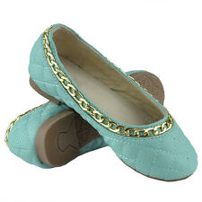 Kids Ballet Flats Quilted Gold Accent Chain Slip On Comfort Shoes Teal