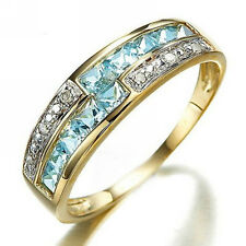 Halo Fashion Jewelry Woman's Aquamarine 18K Gold Filled Rings Gifts Size 6-10