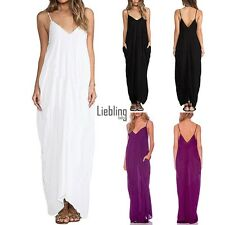 New Fashion Women Casual Beach Sleeveless Sexy V-Neck Long Maxi Dress LEBB