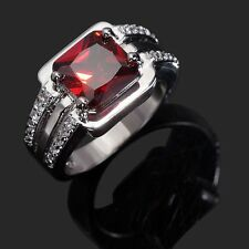 Size 8,9,10,12 Red Garnet 10KT Gold Filled Mens Fashion Engagement Ring Gift