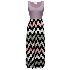 Meaneor Women Sleeveless Elastic Waist Striped Long Maxi Dress LEBB01