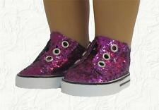 Doll Clothes Sneakers Sequin Slip on Purple fit 18 inch American Girl