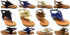New Women's Gladiator Sandals Thong Flip Flops T Strap Flat Strappy Toe Shoes
