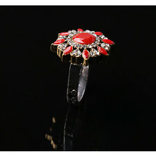 New Women fashion Unique Plated Ancient Gold  Red Crystal Round Ring Size 7-10