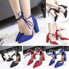 Women Fashion Pointed Toe High Heel Strappy Lady Classic Thick Block Heel Shoes