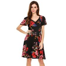 Women V-Neck Short Sleeve Floral Print Casual Fit and Flare Dress LEBB