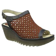 Fly London Yuti 734 Brick Black Womens Leather Wedge Sling Back Sandals New