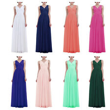 Women Sleeveless Deep V Neck Chiffon Bridesmaid Dress Long Evening Prom Gown