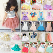Kids Baby Princess Dress Flower Girl Pageant Wedding Party Lace Tulle Tutu Skirt