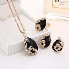 Fashion Austrian Crystal Peacock Pendant Necklace Earring Ring Charm Jewelry Set