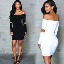 Sexy Women Off Shoulder Cut Out Bodycon Mini Dress Party Cocktail Clubwear Dress