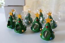 Lillian Vernon Set 8 Wooden Christmas Tree Napkin Ring Holders Star Lot NIB