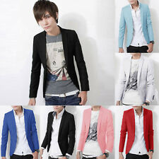 Mens >>Casual Slim Fit Leisure One Button Suit Blazer Coat Jacket Tops Stylish