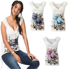 Womens Floral Flower Print V Neck Tee Shirt Vest Top Sleeveless Blouse Tank Tops