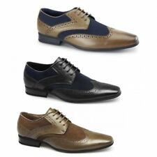 Front TURIN Mens Leather Suede Lace Up Smart Casual Office Brogue Shoes