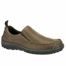 Hush Puppies BELFAST SLIP ON_MT Mens Leather Nubuck Dual Fit Outdoor Shoes Brown