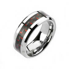 6mm Tungsten Band Comfort Fit Red Carbon Fiber Women's Jewelry Wedding Ring