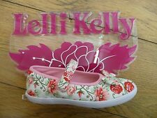NEW Lelli Kelly New Sprint Cream Multi Floral Canvas Dolly Shoes with Microphone