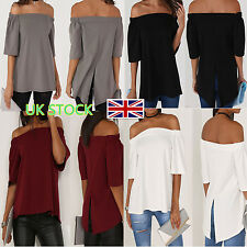 Lady Off Shoulder Blouse Swing Top Bandeau Short Sleeve T Shirt Casual Tee Shirt