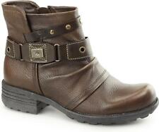 Earth Spirit KENTUCKY Leather Womens Ladies Side Zip Ankle Boots Almond Brown