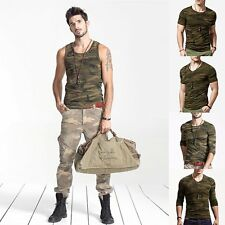 Camouflage Mens T-Shirt Vest Military Army Training Short /Long Sleeve Camo Tee