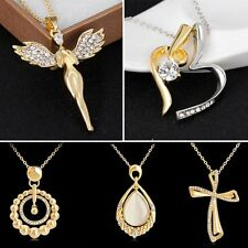 Women Gold Heart Angel Cross Crystal Rhinestone Pendant Necklace Wedding Jewelry