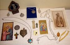 Catholic Holy Cards Rosary Medals Jewelry Old Vintage Religious Prayer Lot