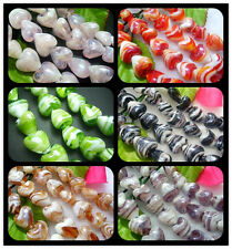 15MM Handwork Stripe Lampwork Glass Heart Spacer Beads Jewelry 25PCS