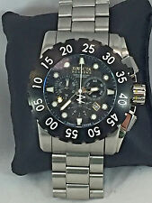 Mens Invicta 1957 Reserve Stainless Steel Bracelet Black Chronograph Dial Watch