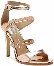 Dv Dolce Vita Talin Pink Gold Leather Buckle Open Toe Sandals Heels Shoes New