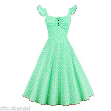 Sexy 60s 50s Vintage Retro Womens Swing Dresses V-Neck Swing Party Casual Dress