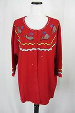 Quacker Factory Sweater Plus size 2X Red Whale Ocean Cardigan