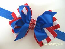 July 4 Royal Blue Red White Stripe Rhinestone Hair Bow Clip Barrette or Headband